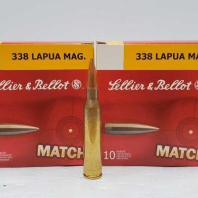 #828 • 100 Rounds Of Lellier & Ballot 338 LAPUA MAG.- 300 grain