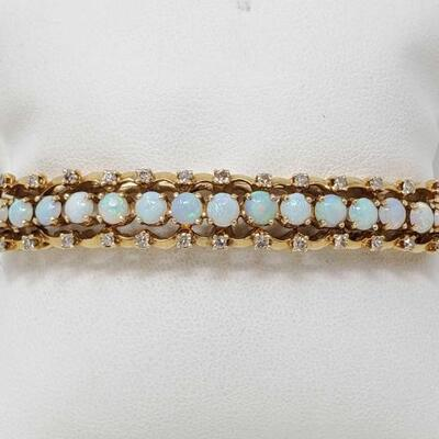 #2052 • 14k Gold Bracelet With Opal And Diamonds, 23.8g