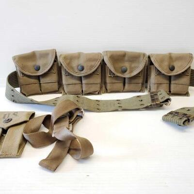 #8142 • Military Duty Belt With 4 Magazine Pouches, and More!