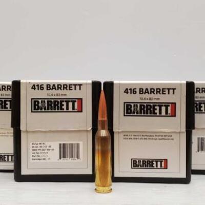 722  100 Rounds Of .416 Barrett - 452 GR 10.4 x 83mm 100 Rounds Of .416 Barrett - 452 GR 10.4 x 83mm