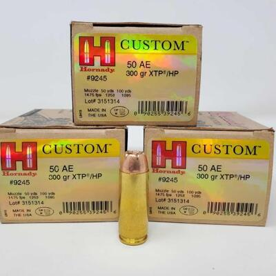 518  60 Rounds of Hornady 50AE - 300gr XTP/HP 60 Rounds of Hornady 50AE - 300gr XTP/HP