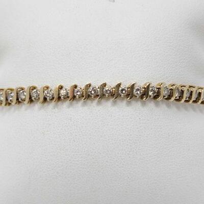 #2030 • 14k Gold Diamond Bracelet, 9g