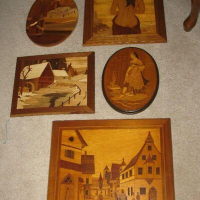 small showing of the inlaid wood art that is available