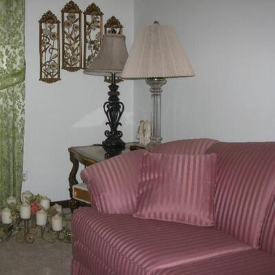 pink striped couch sofa   BUY IT NOW $ 125.00