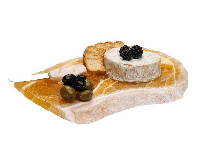 Calcite cheese tray with knife, also perfect for sushi as the knife well can be used for wasabi and sauce! $45