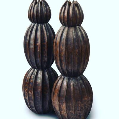 Balinese teak vessels, a matching trio. Hand carved.  41 x 13 $295 each