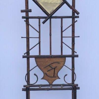 Victorian Bamboo umbrella stand  with mirror $75