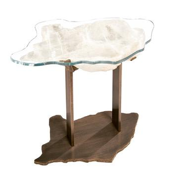 Selenite tables, priced by size.Side table on polished nickel custom base - $600