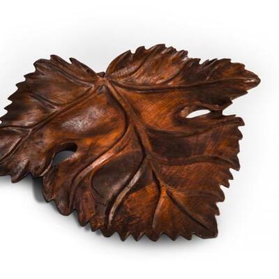 Large Hand carved Balinese teak leaf 24