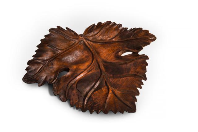 "Large Hand carved Balinese teak leaf 24"" x 20.5"" x 7""  $65"