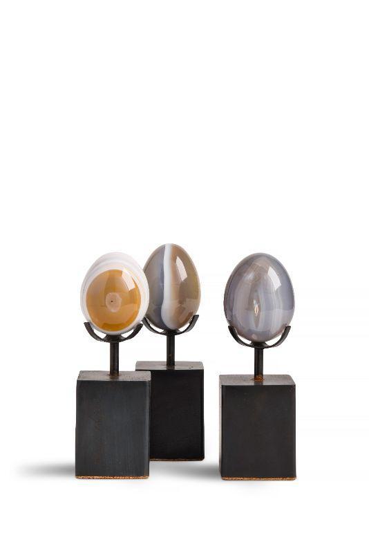 Agate eggs, 2 x 2 x 6.5 on custom mount $18 each