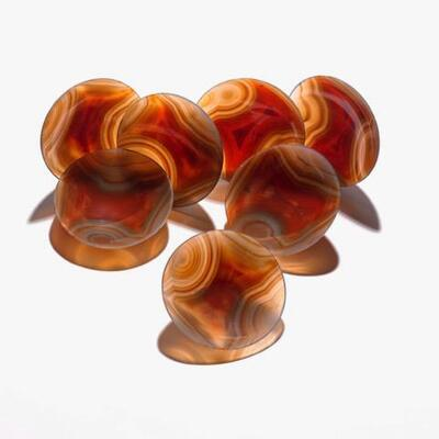 7 matching small agate bowls made from one solid Agate rock. Purchased from private estate, mineral collector - Paris $1200 or best offer