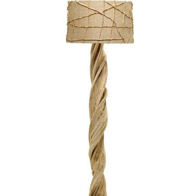 Fossilized vine from Bali floor lamps with featured custom African lamp shade 60