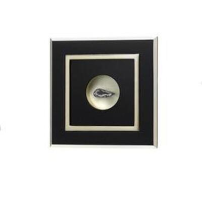 Floating Geodes in hand carved, seamless frame. Black and platinum leafed. $65