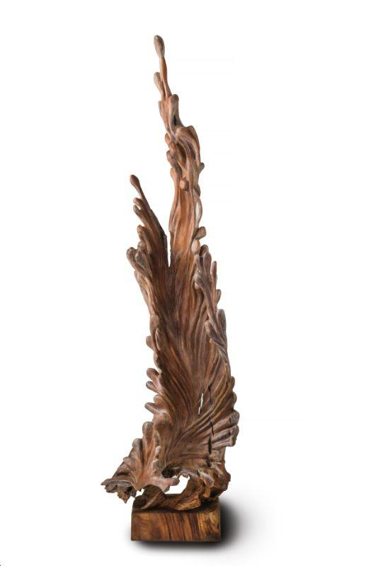 "Balinese teak hand-carved wood sculpture 89"" t x 24"" w x 19"" d   $1800"