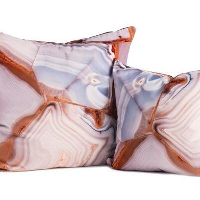 Assorted mineral pillows in linen and sheared velvet - Abalone, Malachite, Agate, etc. 24