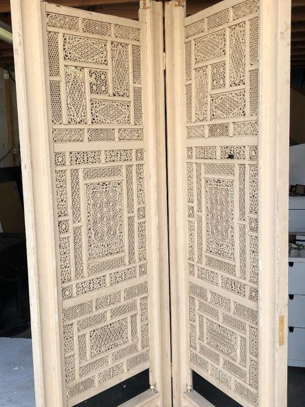 4 mahogany with inlaid brass Indian screens, presently painted cream $1200 for all 3