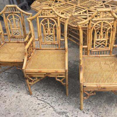 Bamboo chairs to dining room table