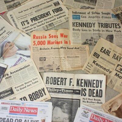 Vintage Newspapers 1960's-1970's