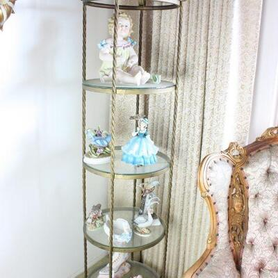 Etagere with Porcelain Figurines