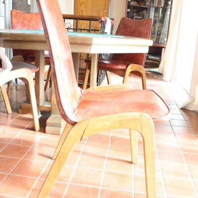 Oak Gaming Table with 4 Mid-century Chairs