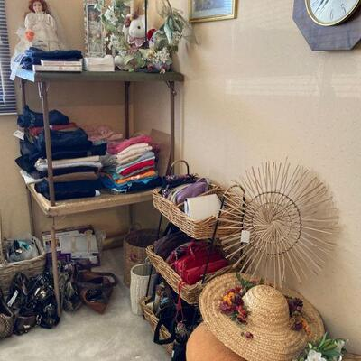 Clothes, purses & basket stand