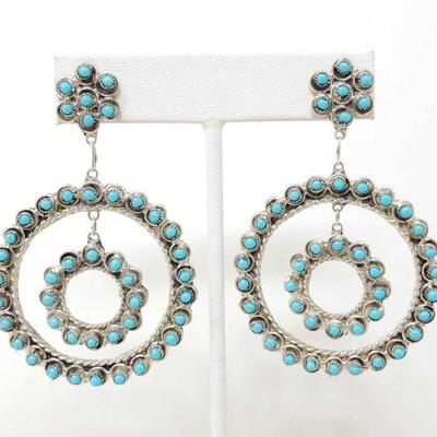 426  Sterling Silver Earrings With Turquoise Stones, 11.3g Weighs Approx 11.3g Value 264