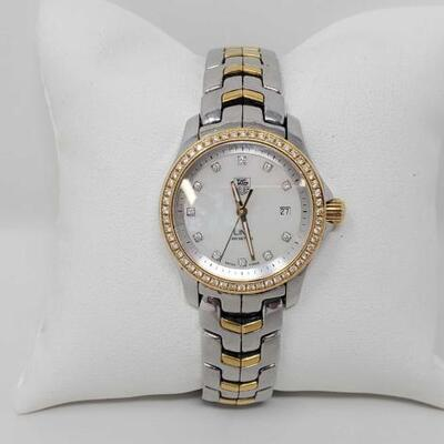 #556 • Tag Heuer Link Watch with Diamond Bezel - Authenticated casing measures approx 26.3mm.