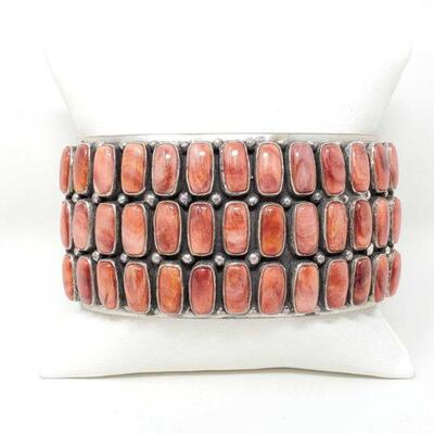 404  L. James Sterling Silver Cuff With Spiney Oyster Stones, 146.9g Weighs Approx 146.9g. Cuff Measures Approx 3