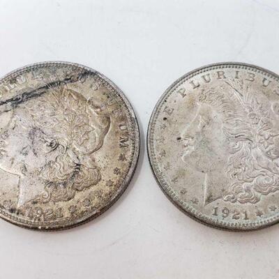 2620  Two 1921 Morgan Silver Dollars Two 1921 Morgan Silver Dollars