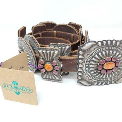 434  Don Martinez Sterling Silver Concha Belt With Spiny Oyster, 584g Weighs Approx 584g. Measures Approx 48