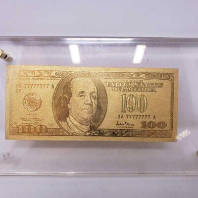 549  24 KT Gold 100 Dollar Bill 24 KT Gold 100 Dollar Bill with Display case