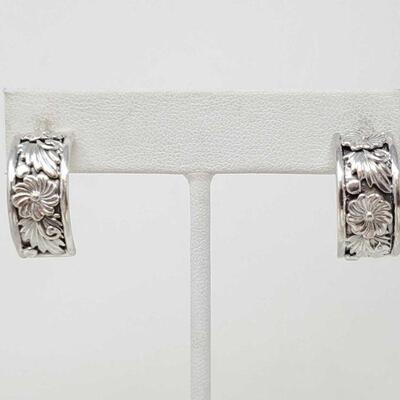 450  Navajo Sterling Silver Earrings - Tom Dinetso These sterling silver floral earrings are made by Navajo silversmith Tom Dinetso. The...