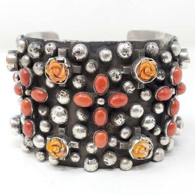 406  Chimney Butte Sterling Silver Cuff With Coral And Spiny Oyster, 157g Weighs Approx 157g. Cuff Measures Approx 2