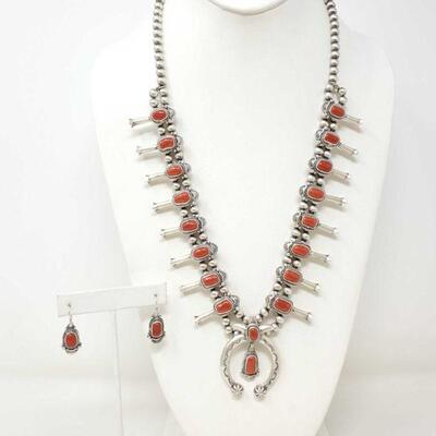 414  Sterling Silver Squash Blossom With Coral Stones And Sterling Silver Earrings With Coral Stones, 124.6g Total Weight Approx 124.6g...