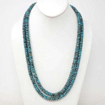 438  Native American Turquoise Beaded Necklace Measures Approx 50