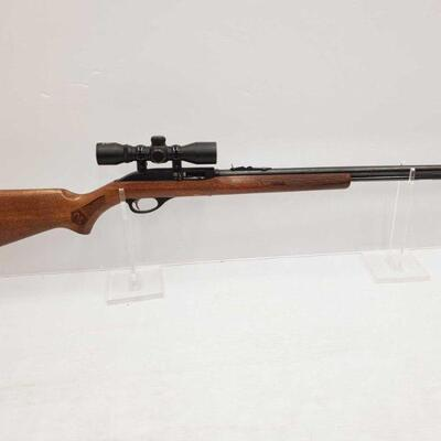 1034  Glenfield 60 .22lr Semi-Auto Rifle With Famous Maker Scope Serial Number: 21299102 Barrel Length: 22