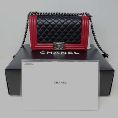 452  Chanel Limited Edition Black/Red Leather Ruthenium Le Boy Medium Flap Bag with Box and Card Guaranteed AUTHENTIC!!!!!  In GREAT...