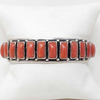 410  Marcella James Sterling Silver Cuff With Coral Stones, 47g Weighs Approx 47g. Measures Approx 3