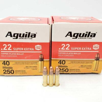 #1968 • New In Box 500 Rounds Of Aguila .22 Super Extra 40 Grain