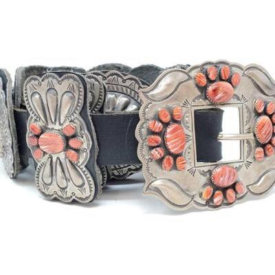 432  Sterling Silver Concha Belt With Spiny Oyster Stones, 568g Weighs Approx 568g. Measures Approx 44