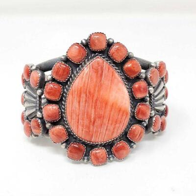 402  Kenneth Begay Sterling Silver Cuff With Spiny Oyster Stones, 141.2g Weighs Approx 141.2g. Cuff Measures Approx 3