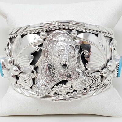 4405  Navajo Indian Turquoise Sterling Silver Growling Bear Cuff Bracelet - Thomas Yazzie Navajo Indian Turquoise Sterling Silver...