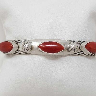 408  Sterling Silver Cuff With Coral Stones, 48.4g Weighs Approx 48.4g Value 480