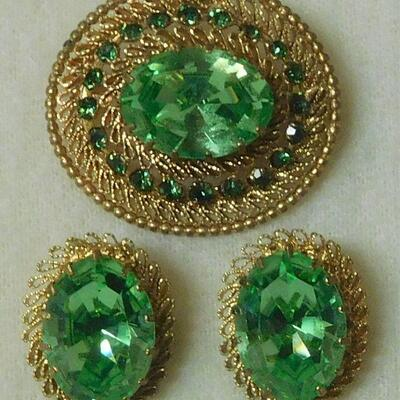 Austrian Brooch and Earrings