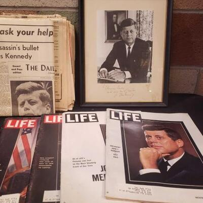 #924 • John F Kennedy Photo, Life Magazines and JFK Related Newspapers