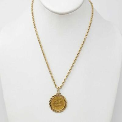 258	  14k Gold Chain With 999 Gold Coin Pendant, 19.7g Weighs Approx 19.7g. Measures Approx 18