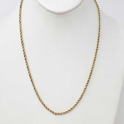 228	  14k Gold Rope Chain, 15.9g Weighs Approx 15.9g. Measures Approx 20