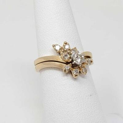 224	  14k Gold Diamond Ring With 14k Gold Diamond Band, 3.8g Weighs Approx 3.8g. Size 6 CT Sizes .20 and .05