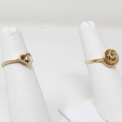 262	  2 14k Gold Rings With Diamonds, 4.1g Size 3.5-5. Weighs Approx 4.1g